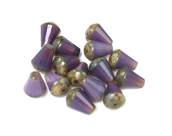 Purple opaline w/ Light Golden Brown picasso faceted small 8 x 6mm top cut drop. Set of 15 or 30.