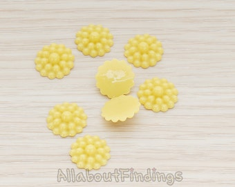 CBC502-MU // Mustard Colored Bubble Flower Back Cabochon, 6 Pc
