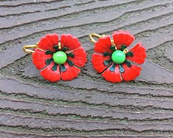 Vintage Jewelry Adorable Enamel Poppy Earrings Very Cute!