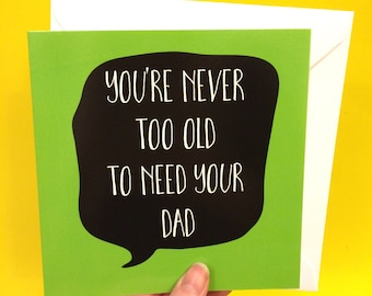 fathers day card dad and daughter, father and son greeting cards, dad birthday card, 13.5cm square