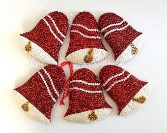 vintage SIX bell ornaments sequin felt ornaments handmade ornaments bells christmas bells