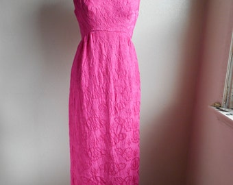 vintage 60s empire waist pink floral plunge back boat neck sleeveless evening slip lined maxi dress union made