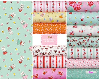 Cotton Fabric bundle, 13 Fat quarters, Vintage retro - Milk Sugar Flower by Elea Lutz for Penny Rose Riley Blake