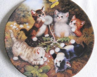 Beautiful collection Plate-cats-kahla-ramble through the meadow-vintage CAT/cats collector plate