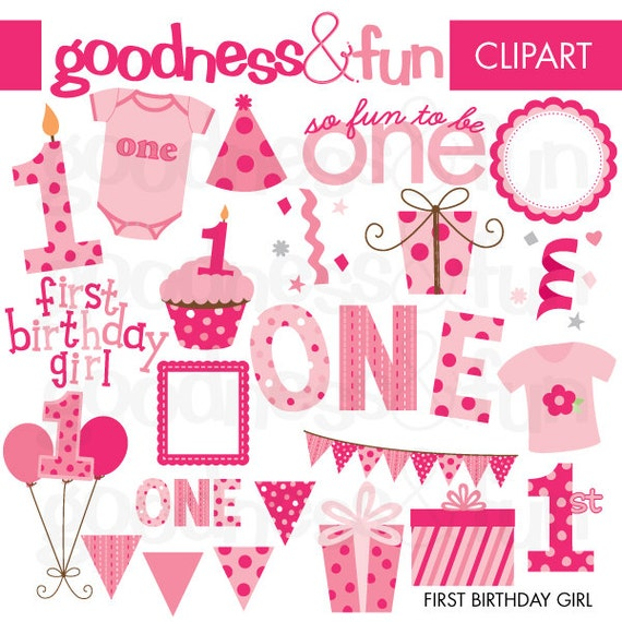 buy 2 get 1 free first birthday girl clipart digital rh etsy com happy first birthday clipart my first birthday clipart