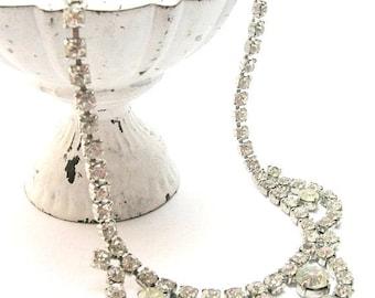 Vintage 1950s Clear Crystal Rhinestone Necklace - Vintage Necklaces