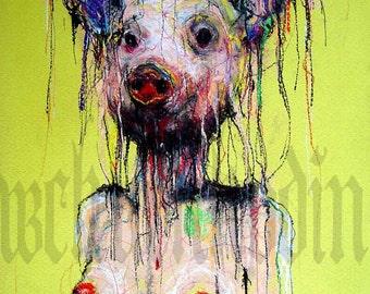 "Print 8x10"" - Meathead - Pig Hog Naked Boobs Sex Fetish Blood Dark Art Horror Red Creature Monster Bacon Eat Dinner Animal Abstract Tit"