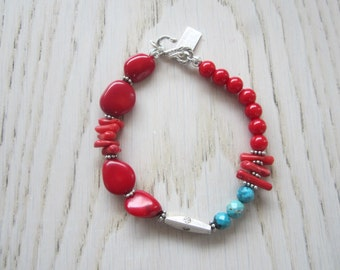 Red Coral Turquoise Beads Bracelet, Stackable Boho Bracelet, Chunky Beads Bracelet, Sterling Silver Bracelet, Limited Edition