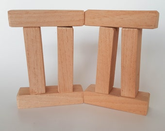 Wooden Construction Blocks - Small Rectangular Mahogany kids Building Blocks, Kids Waldorf Toy, Natural Wooden Play Blocks - Set of 8 Blocks