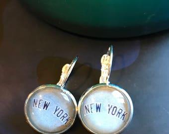 New York Yankees cabochon earrings- 16mm