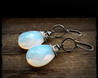 Opal Opulence Drops: Oxidized Sterling Silver Wrapped Opalite Briolette Suspended from Hand Formed and Hammered Mini Hoops