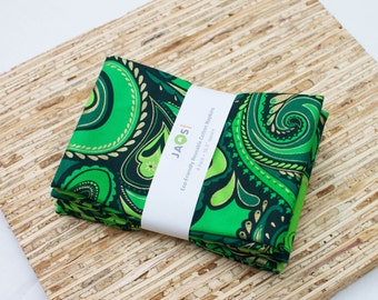 Large Cloth Napkins - Set of 4 - (N4399) - Green Paisley with Gold Metallic Accents Modern Reusable Fabric Napkins
