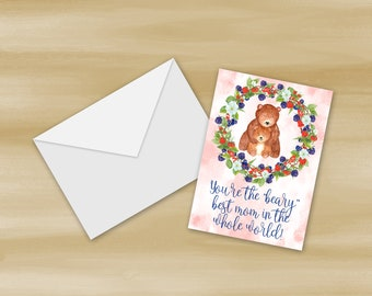 Beary Best Mother's Day Card Printable (Digital File Only)
