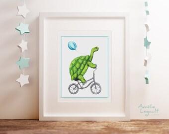 Affiche tortue à bicyclette, tortue à vélo avec ballon bleu, affiche pour enfant, 5 x 7, 8 x 10 et 11 x 14