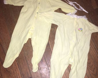 Vintage Lot/2 1970s Yellow Pajama Footies Size 0-6 months