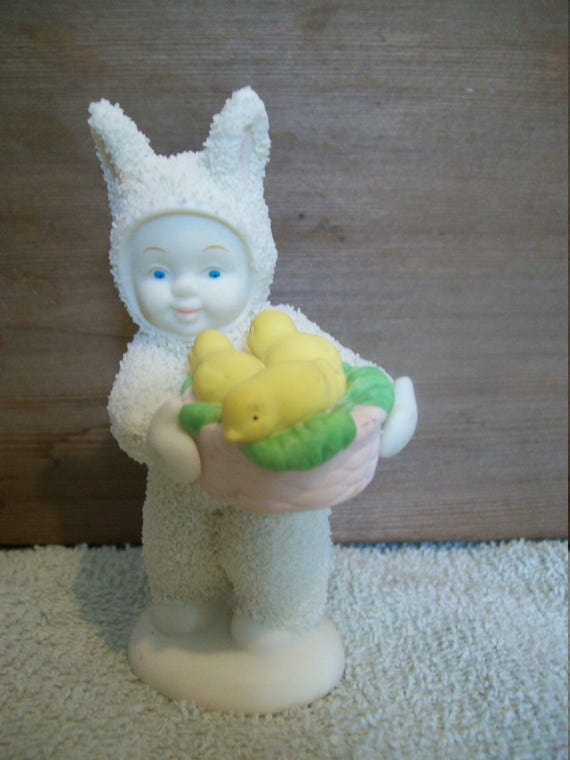 Snow Baby Easter Bunny w/basket of ducks, Basket of Joy, Snow figure, winter figure,  Christmas,  Spring,  gift, home decor, holiday decor,