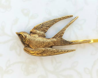 Gold Antiqued Brass Bird Hair Pin, Bobby Pin, Woodland, Boho, Rustic, Nature, Garden Wedding Hair, Vintage Bridal Hair, Swallow, Feather