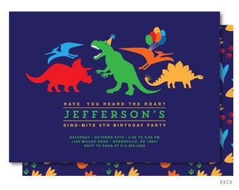Dinosaur Birthday Invitation, Tyrannosaurus Rex Invitation, Dinosaur Invitation, Dinosaur Invite, Dinosaur Party, Printed Invitations
