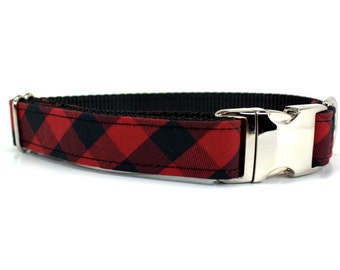 Buffalo Plaid Dog Collar with Metal Buckle | (Your choice of silver or gold buckle)| Holiday Dog Collar | Plaid Dog Collar | Fall Dog Collar