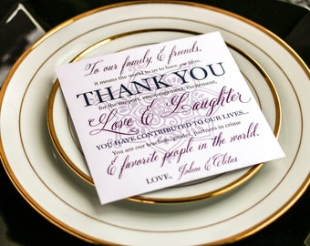 """Purple, Navy and Grey, Indian Wedding, Reception Decor, Thank You Place Card - """"Modern Henna"""" Reception Thank You Sign 5.25x5.25 - DEPOSIT"""