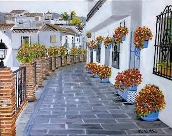 """Σβ Street, oil painting by Martha Adams, 24"""" x 18"""", Art, Greece, street scene,  flowers, white stucco buildings - SOLD"""