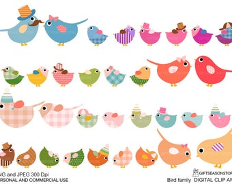 Bird family Digital clip art for Personal and Commercial use - INSTANT DOWNLOAD