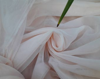 Light Pink, Light Blush Soft silk like tulle fabric, silk like tulle  - 2.85 METERS WIDTH