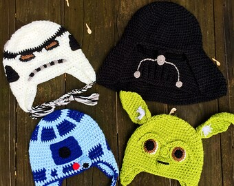 READY to ship!Crochet Darth Vader hat,Storm Trooper hat,R2D2 Hat, Yoda hat, baby hat,toddler hat,children hat,crochet hat, Star Wars hat