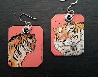 HOT Tiger - hand-painted big cat charm earrings