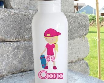 Skater girl/ bottle/stainless steel water bottle/ straw top/custom/personalized/kids bottle