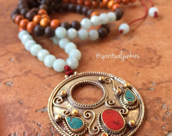 108 Bead Spiritual Junkies Mixed Wood, Amazonite + Tibetan Silver Pendant Yoga and Meditation Mini Mala
