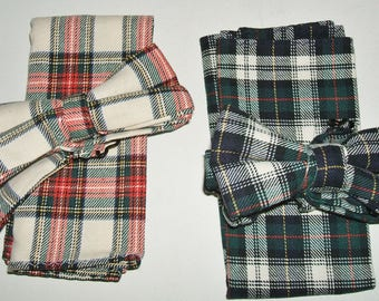 HAIGHT & ASBURY - 2  vintage sets of tartan cotton bow ties  and  hankies.