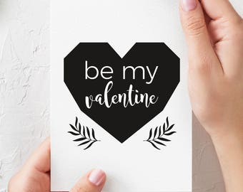 Girlfriend Love Card for Her, Be My Valentine Card, Valentine's Day Card, Romantic Card, Printable, Boyfriend Card, Valentines Card for Him
