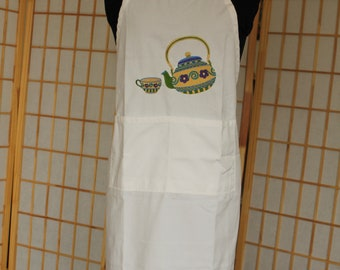 Embroidered Antique Teapot and Teacup Apron