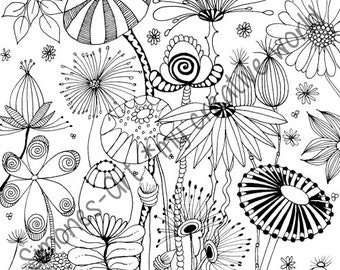 Flower Meadow - Adult coloring page (A4)