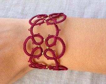 Wine red lace tatted bracelet , tatting lace , frivolite bracelet , lace bracelet , tatting jewelry