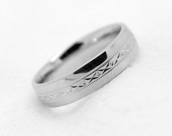 6mm 925 Sterling Silver Filigree Wedding Band, 925 Sterling Silver Hammered Ring, Men's Wedding Band, 925 Sterling silver wedding band, 0016