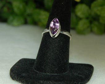 Amethyst Ring, Size 8, Marquise Cut, Sterling Silver, February Birthstone, Purple Amethyst, Natural Amethyst, Marquise Amethyst