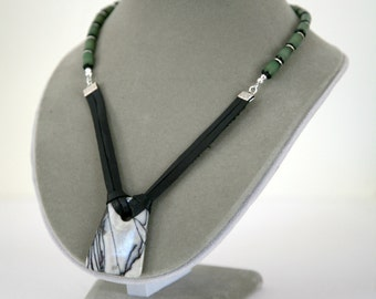 Unisex Black and Grey Picasso Jasper Pendant Leather Corded Wood Bead Necklace