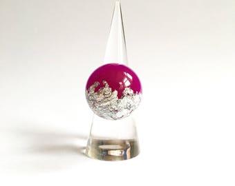 Bold Pink Resin Metallic Silver Leaf Statement Ring!
