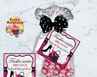 Printable Fashionista thank you for coming/glam tag