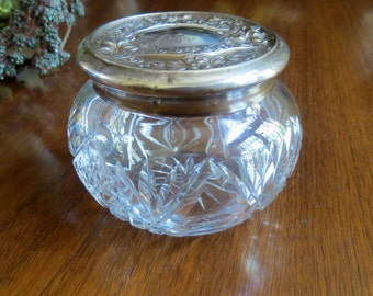 Antique Wallace and Co Dresser Jar with Sterling Repousse Lid