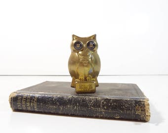 Vintage Brass Owl Figurine / Brass Advertising Paperweight / Owl Figure