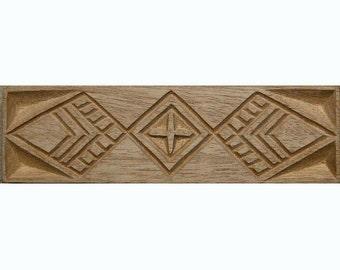 Oshiwa Carved Wood Printing Stamp, African Design, 8.25'' x 2.5'', Item 18-2-66