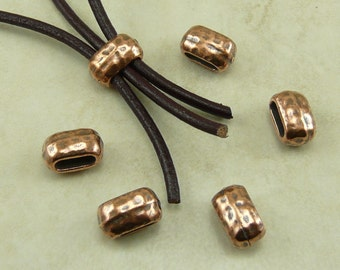 6 TierraCast 6x2mm ID Hammertone Hammered Large Barrel Crimp Spacer Beads > Copper Plated Lead Free Pewter - I ship Internationally 5792