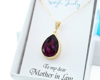 Mother Of The Groom Gift, Mother of the Bride Gift, Future Mother In Law Gift From Bride, Mother In Law Necklace Amethyst Swarovski Necklace