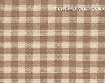 Dunroven House H-82 Homespun Wheat & Cream Checked Fabric    1/2 Yard Cut Off The Bolt