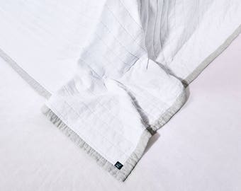 Linen winter quilt Color White & Natural Flax Quilted Linen StoneWashed Modern Quilt Organic Blanket  Neavier Linen Fabric King Size Blanket