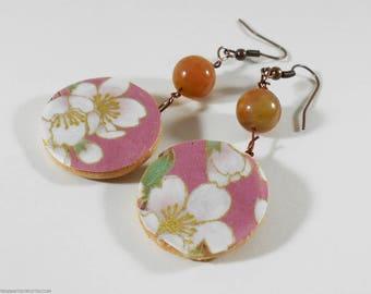 Japanese Earrings, Chiyogami Earrings, Asian Earrings, Dangle Earrings, Paper Earrings, Origami Earrings, Boho Earrings, Cherry Blossoms