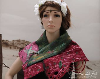"""Green, Burgundy and pink woman mini-Chale craft felt """"Gone with the wind"""""""